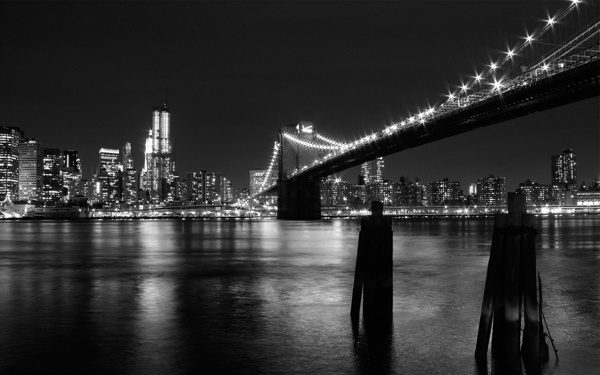 Black, Bridge, Full Hd, Night, White, Widescreen
