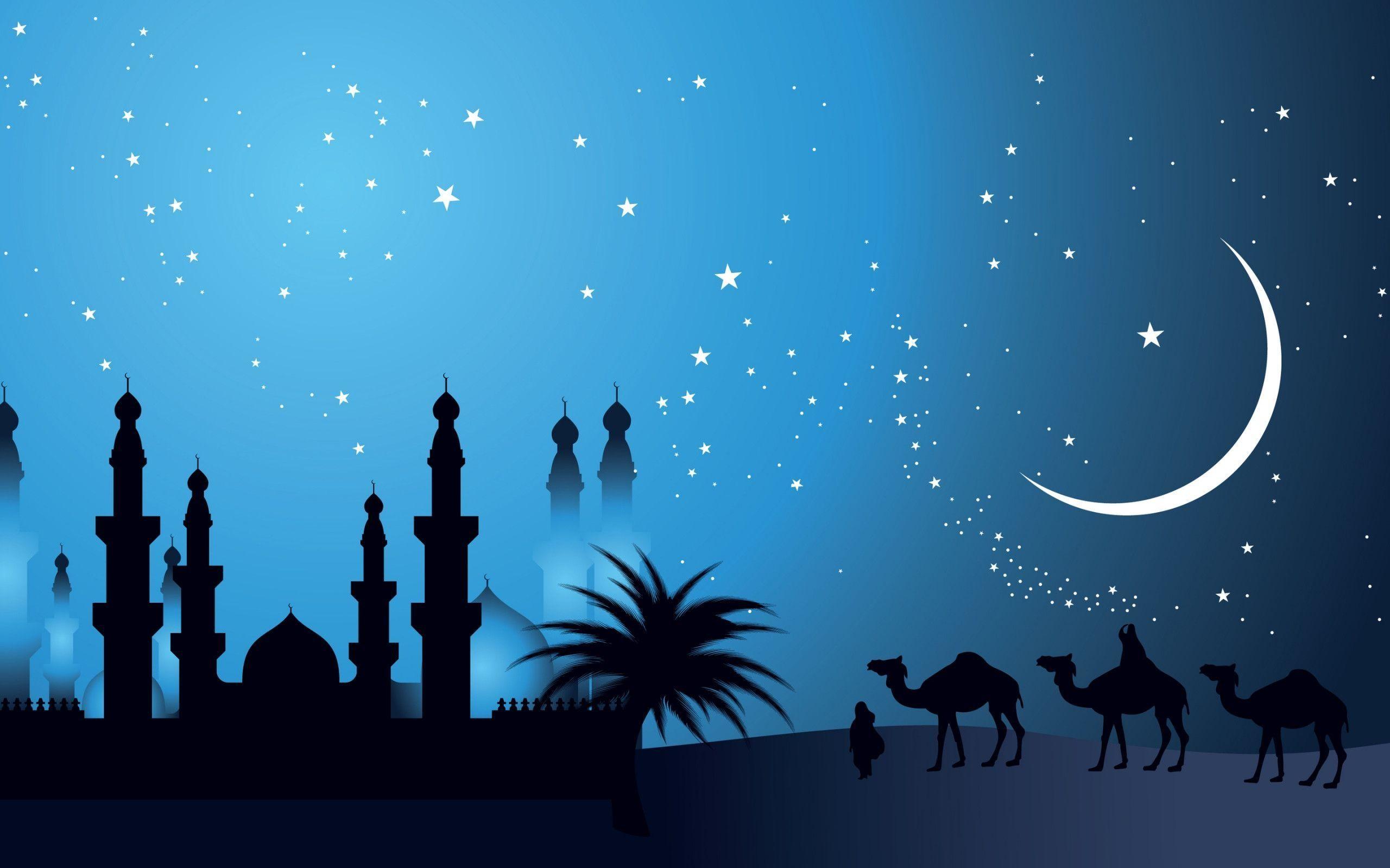 Verwonderend Islamic Wallpapers, Blue, Camel, Hd, Islamic Wallpaper, Moon WD-38