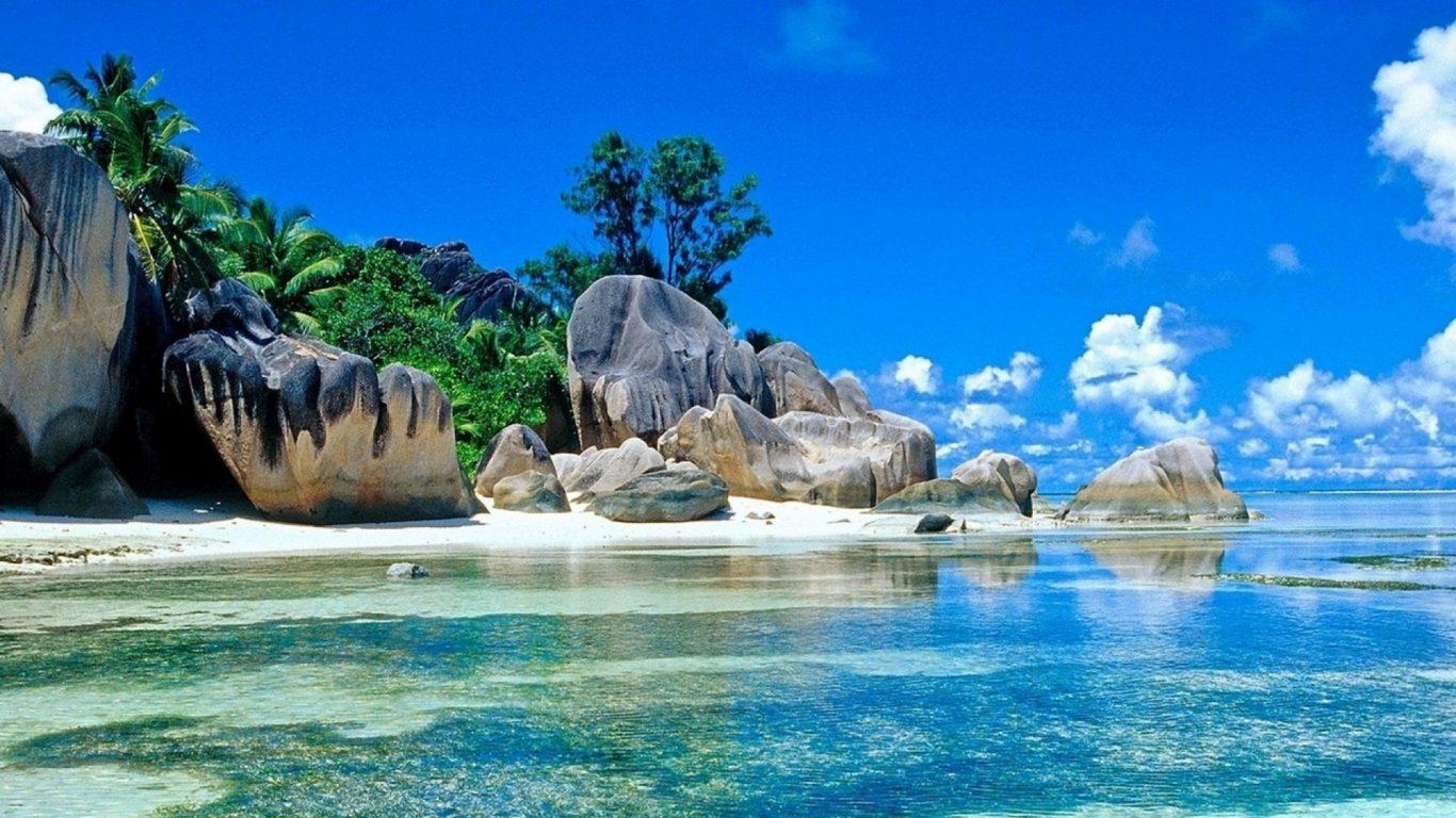 summer background  4k  background  beach  blue sky  rocks