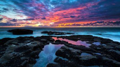 Colourful Cloudy, Hd, Nature, Rocks, Sea