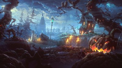 Clouds, Digital, Halloween, Lights, Trees