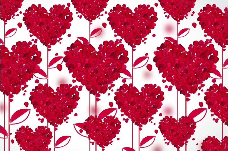 Heart Wallpaper Design Flower Hearts Red White Love 2054