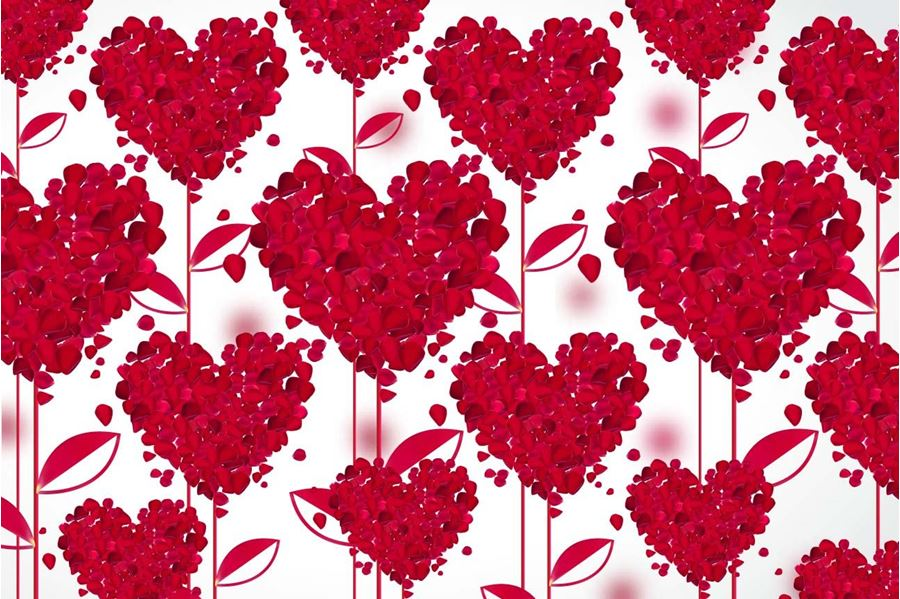Design, Flower, Hearts, Red, White