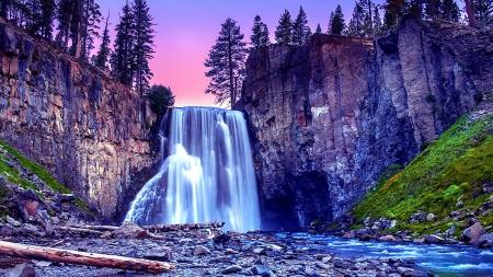 Waterfall Background Image Mountain Nature Tree