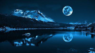 Blue, Lake, Moonlight, Wallpaper