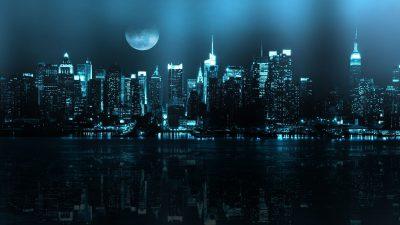 Big, Building, City, Night, Wallpaper, Widescreen