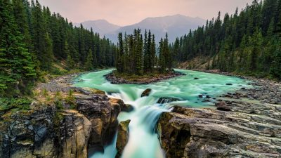 Desktop, Jasper, National, Natural, Park, Wallpaper, Waterfall