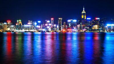 Colorful, Hong, Kong, Light, On, Sea, Top, View, Wallpaper